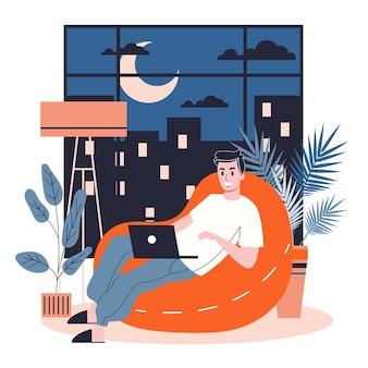 Homem depois do trabalho, relaxando no pufe e surfando nas redes sociais ou conversando. jovem empresário a descansar em casa, a passar o tempo livre no interior. ilustração