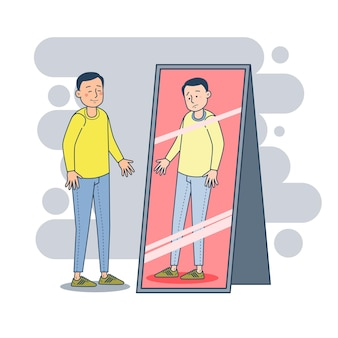 Homem deprimido reagindo positivamente cobrindo emoções de rosto em frente ao espelho sentindo depressão transtorno mental ilustração vetorial retrato conceito