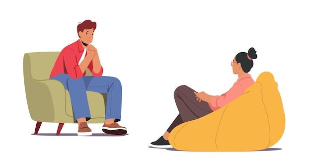 Homem deprimido sentado no sofá durante consulta com psicólogo