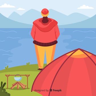 Homem, descansar, acampamento