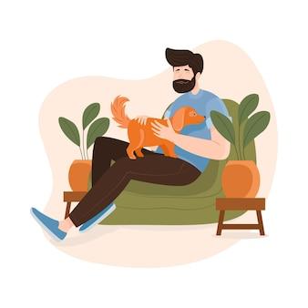 Homem desenhado à mão com cachorro