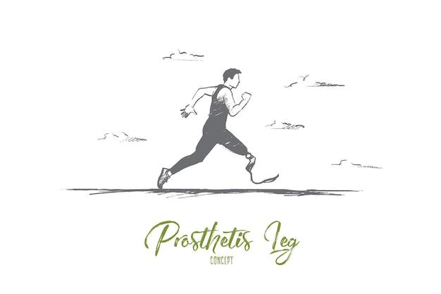 Homem desenhado à mão correndo com prótese