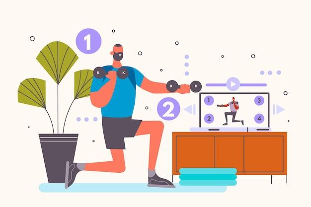 Homem desenhado à mão fazendo aulas de esportes online