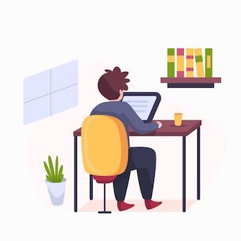 Homem desenhado à mão trabalhando em casa