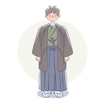Homem desenhado à mão vestindo montsuki japonês