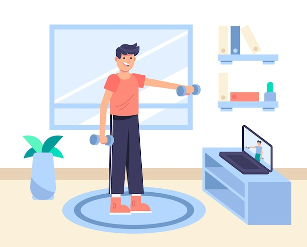 Homem desenhado fazendo exercícios em casa