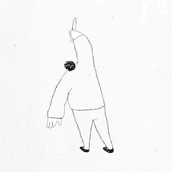 Homem desenhando um vetor com design minimalista