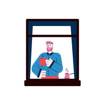 Homem desfrutando de um café em casa, moldura de janela, desenho ilustração em vetor isolada