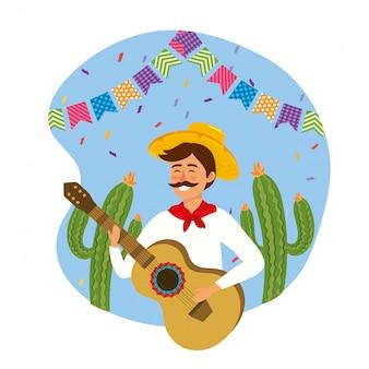 Homem, desgastar, chapéu, com, guitarra, e, cacto, plantas