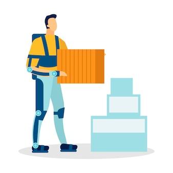 Homem, desgastar, exoskeleton, apartamento, vetorial, ilustração