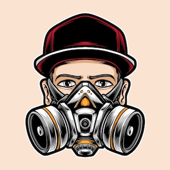 Homem, desgastar, máscara respirador