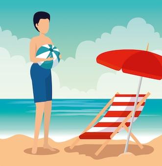 Homem, desgastar, swimsuit, com, bola, e, guarda-chuva, com, bronzeando cadeira