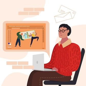 Homem designer criando projeto no laptop cartoon