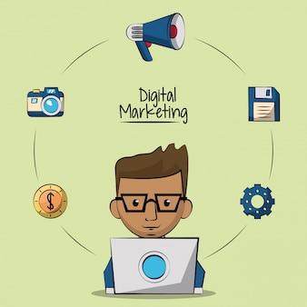 Homem designer em laptops e ícones de marketing ao redor