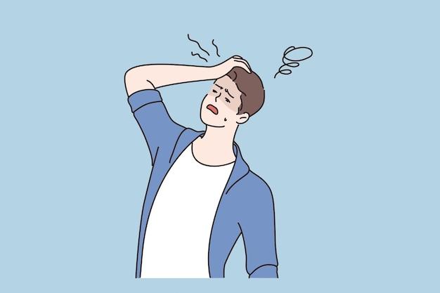 Homem desmaiando e conceito de sintoma de doença
