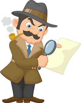 Homem detetive dos desenhos animados
