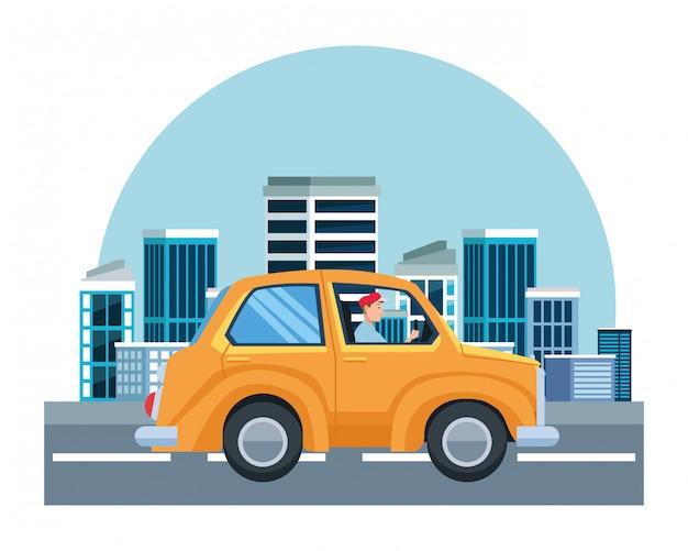 Homem, dirigindo, car, veículo, sideview, caricatura