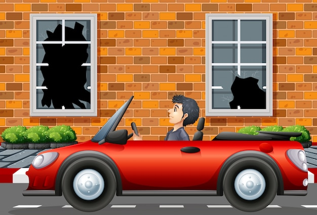 Homem, dirigindo, carro esporte, em, vizinhança áspera, ilustração