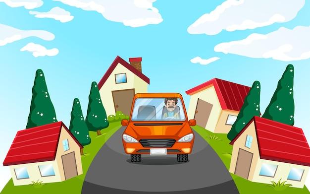 Homem dirigindo carro na vizinhança