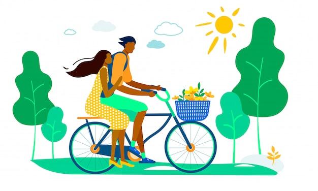Homem, dirigindo, mulher, ligado, bicicleta, com, cesta flores