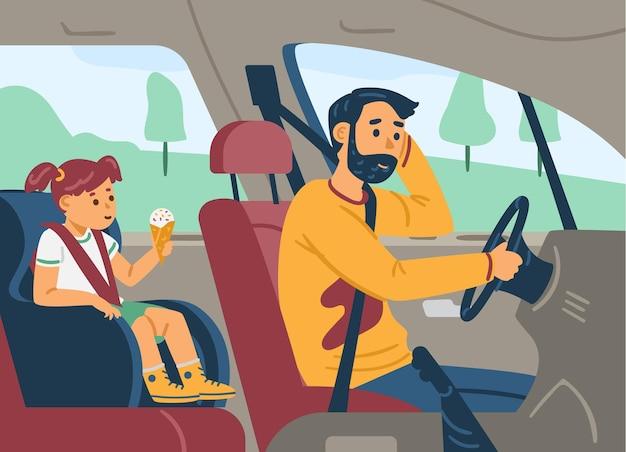 Homem dirigindo o carro e dando carona para a ilustração vetorial plana de seu filho