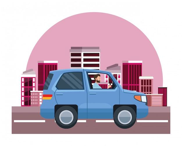 Homem, dirigindo, suv, veículo, sideview, caricatura
