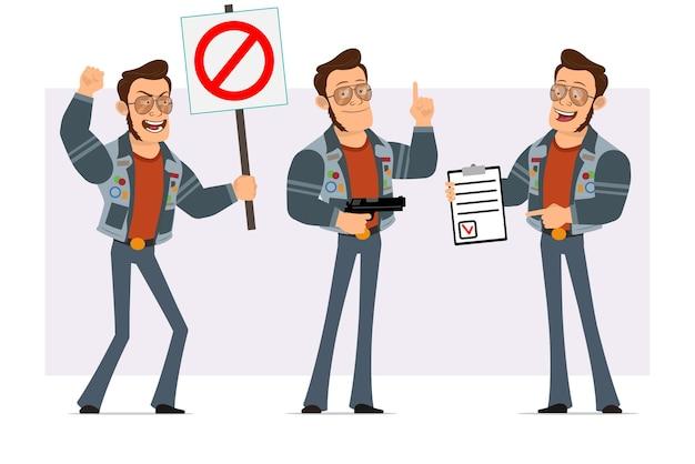 Homem disco forte dos desenhos animados em óculos de sol e jaqueta jeans. menino segurando nenhuma placa de entrada, pistola e tablet de tarefa com a marca.