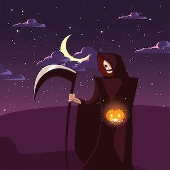 Homem disfarçado de morte com lua em cena de halloween