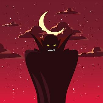 Homem disfarçado de vampiro em cena de halloween