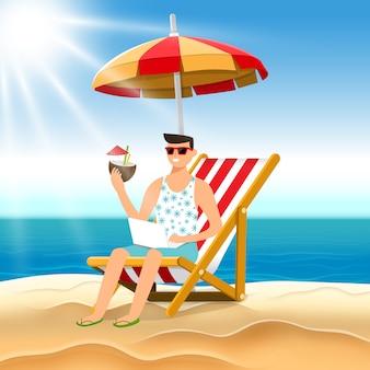 Homem do conceito de ilustração dos desenhos animados relaxar na praia. ilustrar.