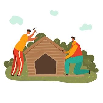 Homem do marceneiro no local de trabalho com os hummers que constroem a casa de madeira, ilustração lisa isolada no branco. dois homens trabalhando carpintaria.