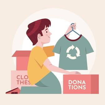 Homem doando o conceito de roupas