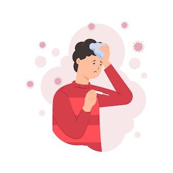 Homem doente com febre, medir a temperatura corporal com termômetro e segurando a compressa de saco de gelo na cabeça