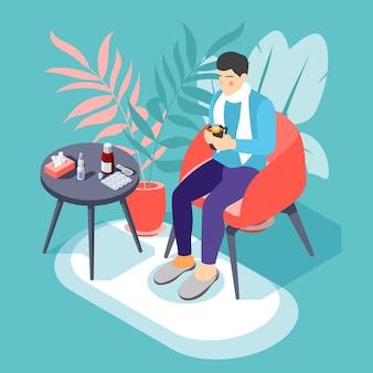 Homem doente com gripe resfriado e dor de garganta, sentado na poltrona com uma bebida quente, ilustração isométrica