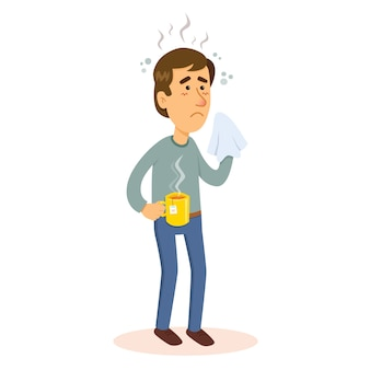 Homem doente com gripe