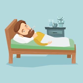 Homem doente com termômetro deitado na cama.