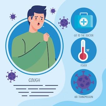 Homem doente com tosse e partículas cobertas