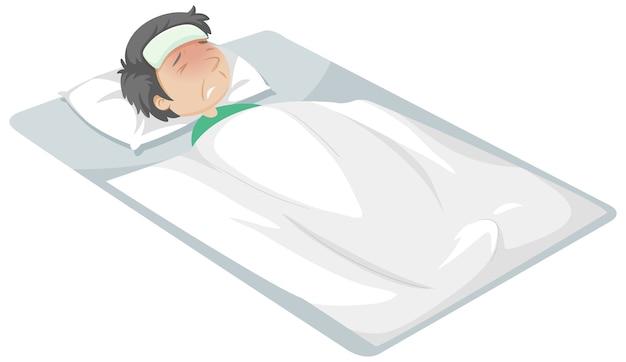 Homem doente descansando na cama