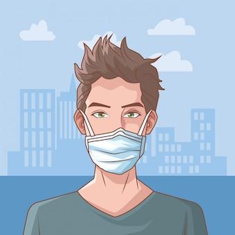 Homem doente na cena do coronavírus