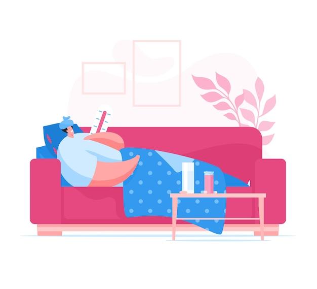 Homem doente que sofre de febre em casa