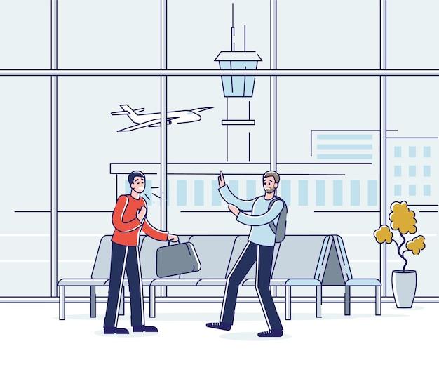 Homem doente sem máscara tossindo no aeroporto esperando a partida