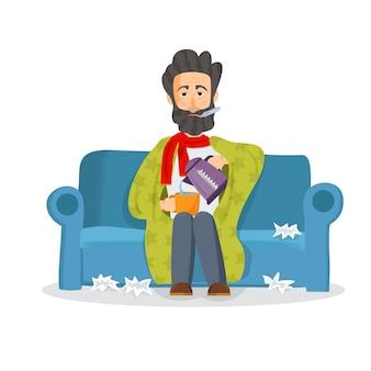 Homem doente sentado no sofá. personagem infeliz.