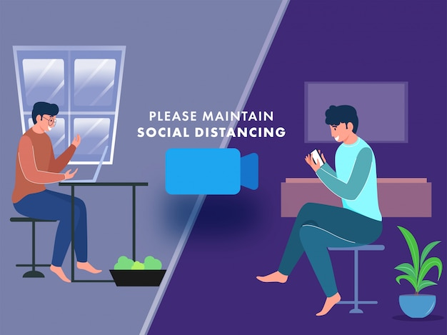 Homem dois novo que toma a chamada de vídeo do portátil e do smartphone em casa para manter o conceito de distanciamento social.