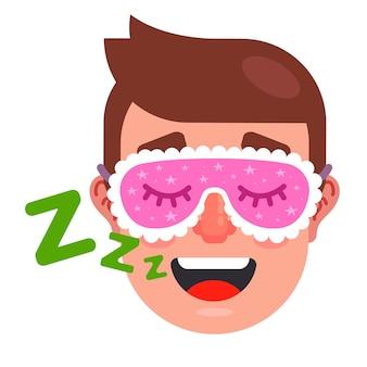 Homem dorme com máscara de dormir. homem roncando. ilustração vetorial plana.