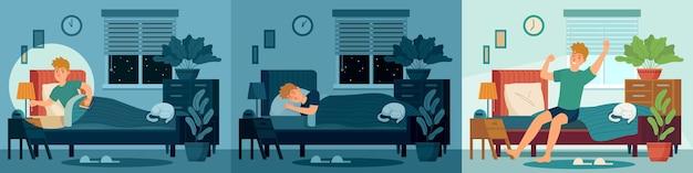 Homem dorme no quarto da cama em casa. personagem masculina feliz dormindo na cama à noite e acorda de manhã.