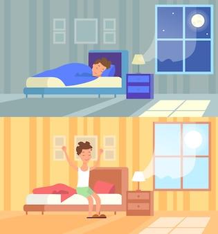 Homem dormindo à noite e acordando de manhã. bom dia começa o dia acorda