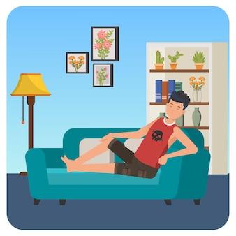 Homem dormindo no sofá ilustração interna