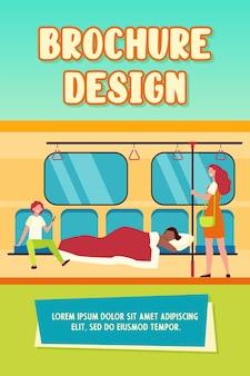 Homem dormindo sob o cobertor no trem do metrô. ilustração em vetor plana sonâmbulo, sem-teto, passageiros rindo