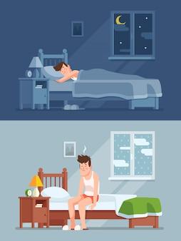 Homem dormindo sob o edredom à noite, acordando de manhã com cabelo de cama e sentindo-se sonolento e cansado.