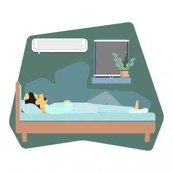 Homem, dormir, cama, ilustração